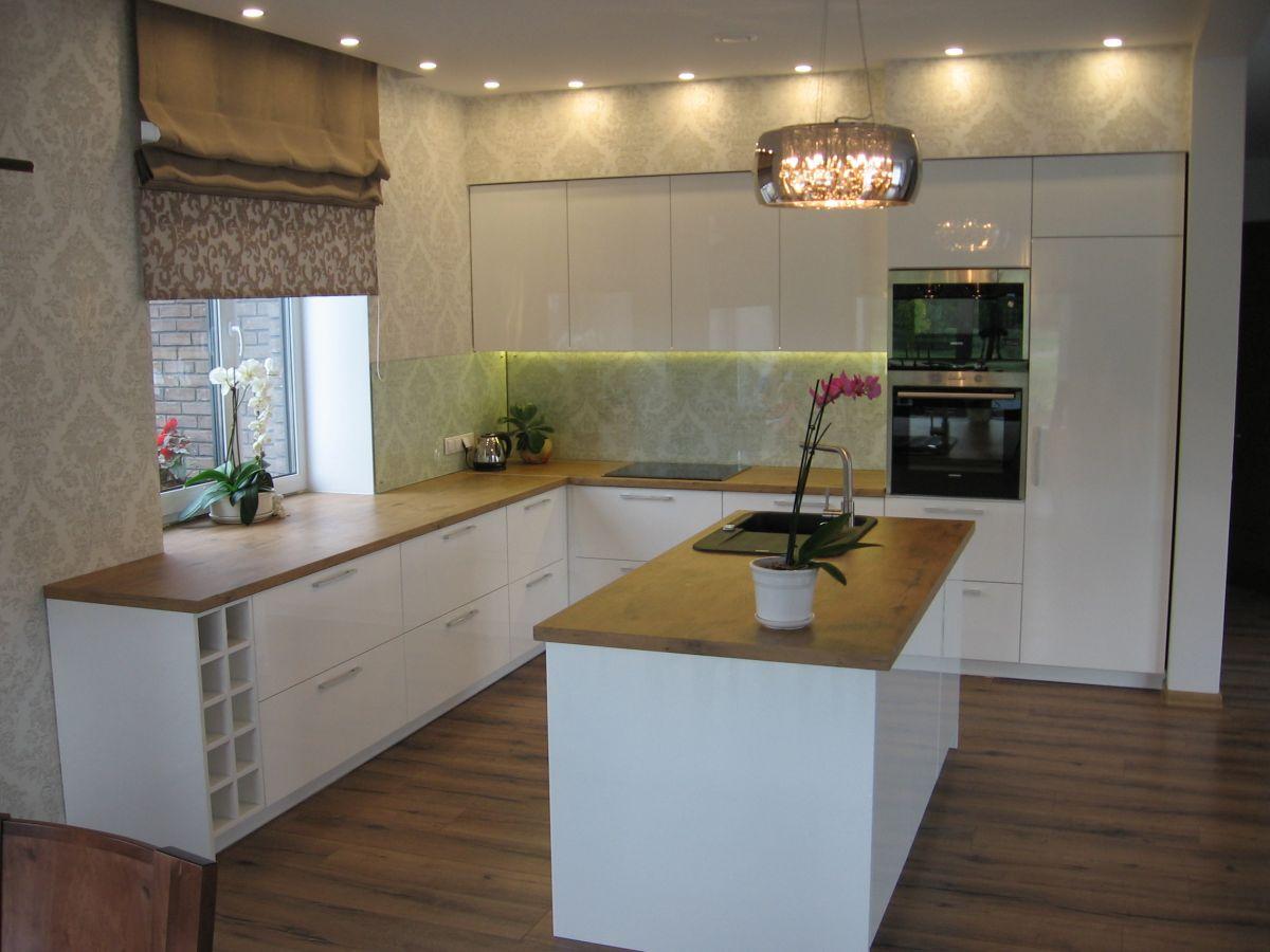 Virtuvė baltas blizgus MDF